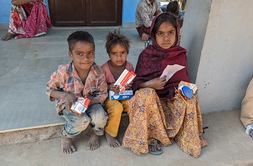 Indian children waiting to see a pediatrician - medical mission to India